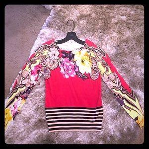 Etro V-Neck Paisley sweater hot pink yellow 42 4 6